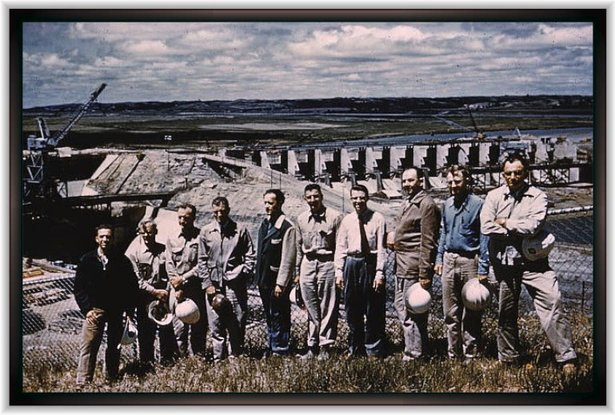 workers at Gavins Point Dam - 1950s