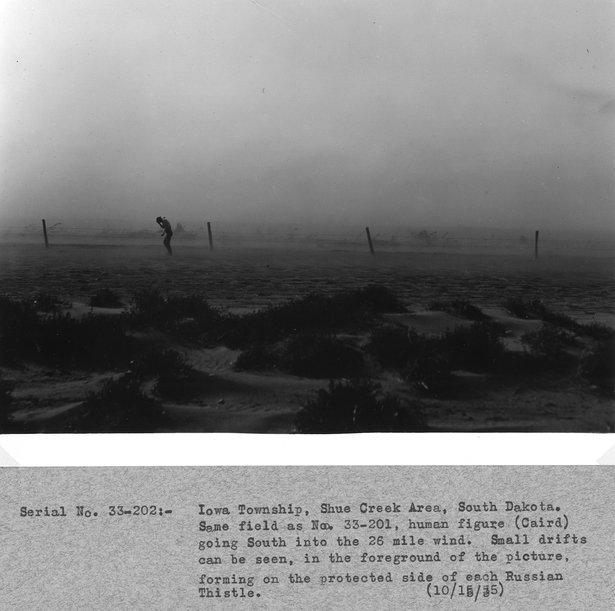 farmer in wind, soil drift