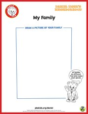 Daniel Tiger's My Family Coloring Page