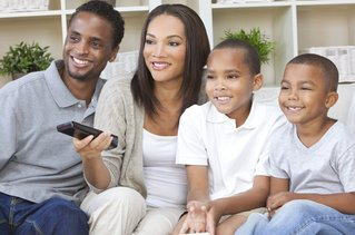 family using remote