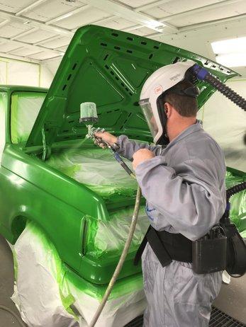 Felders car getting a new coat of paint.
