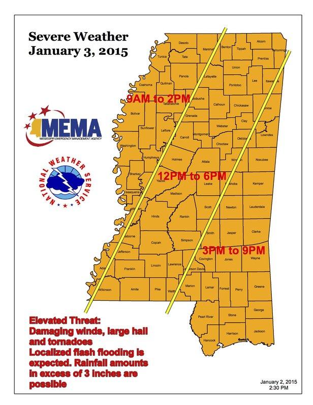 MSEMA Severe Weather Map Jan 2015