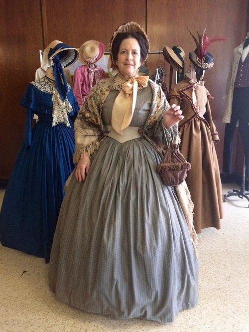 Jane Schultz in period costume on set of Mercy Street.