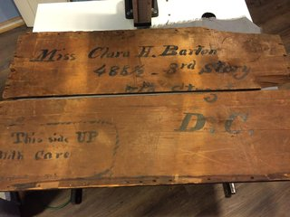 Box sent to Clara Barton during donation drive.