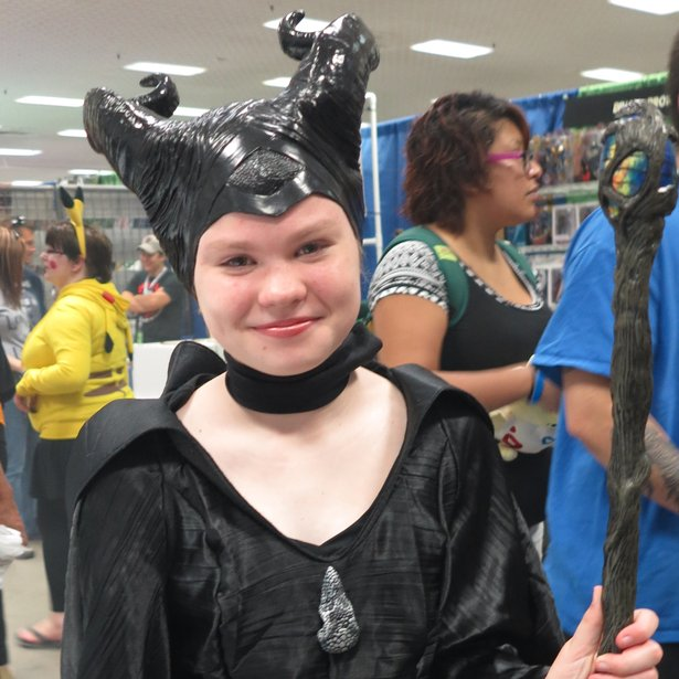 A 2015 Ama-Con attendee cosplays as Maleficient. This year's con is Saturday and Sunday.