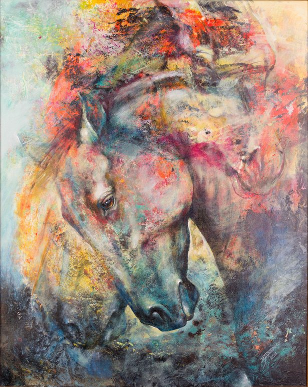 """West Dust — Mottled Horses"" by Iwona Jankowski is the signature piece for American Quarter Horse Hall of Fame & Museum's America's Horse in Art."