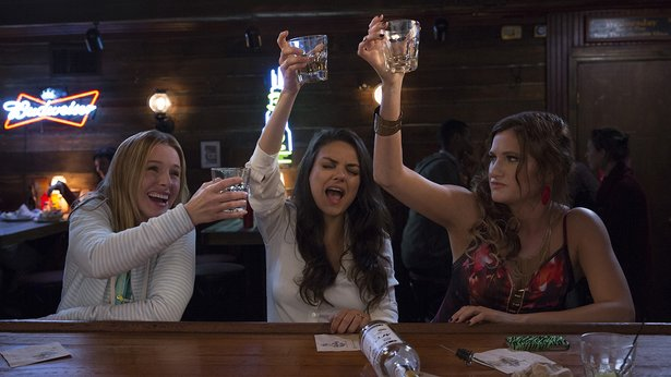 "Tipsy matriarchs Kristen Bell, Mila Kunis and Kathryn Hahn raise their spirits in ""Bad Moms."""