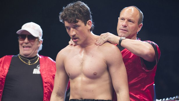 "Miles Teller, center, and Aaron Eckhardt star in ""Bleed for This."""