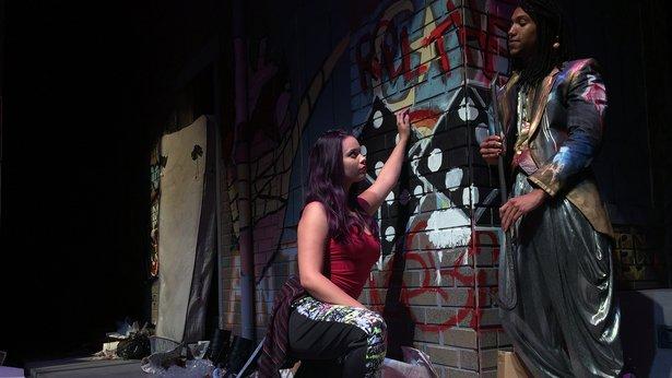 "Brooklyn (Madeleine Hale) seeks guidance from a street singer (Caleb Summers) in WT's ""Brooklyn."""
