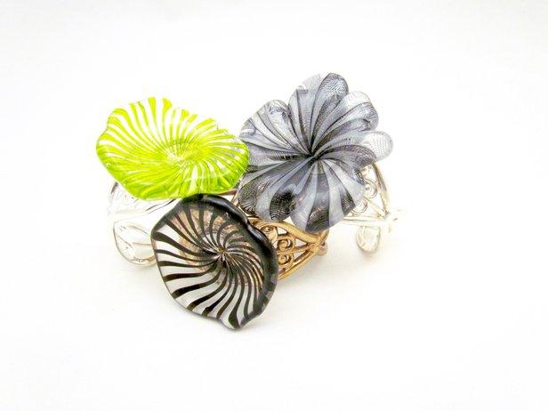 Flower cuff bracelets by Sara Spaulding