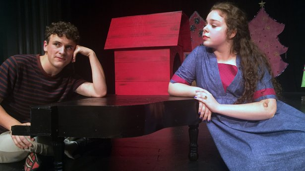 """Schroeder (Sean Reneau) is frustrated by Lucy's (Abigail Martin) disdain for Beethoven in AC Conservatory Theatre's """"A Charlie Brown Christmas."""""""