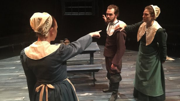 "Mary Warren (Channing Taylor) accuses the Proctors (Dakota Brown and Kaelee Eichorst) in WT's ""The Crucible."""