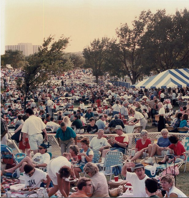 This archival photo shows crowds celebrating at the 1995 Discover! party.