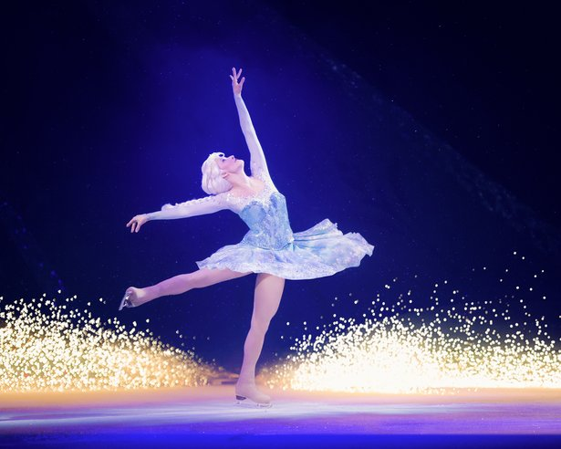 "Angie Lien skates the role of Elsa in Disney on Ice's ""Passport to Adventure."""