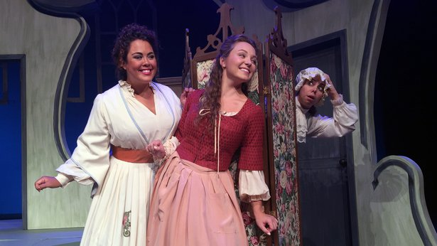 "Countess Almaviva (Kerriann Otaño), and Susanna (Madison Leonard) look for Cherubino (Eliza Bonet) in ""The Marriage of Figaro."""