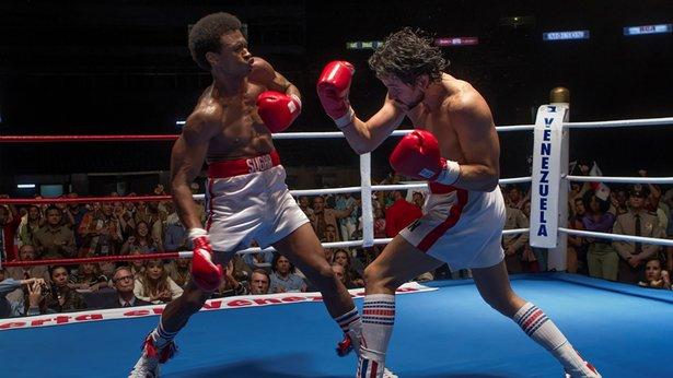 "Sugar Ray Leonard (Usher Raymond) and Roberto Duran (Edgar Ramirez) duke it out in ""Hands of Stone."""