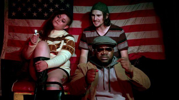 """Druggies (played by Jo Early and Cody Johnson) hitch a ride from a driver (Kyle Gipson) in """"Hellcab,"""" opening Friday at RR Bar."""