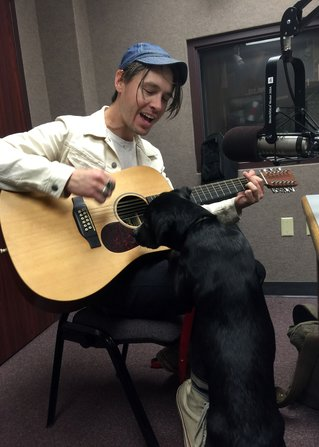 Jonathan Tyler and Cash in the FM90 studio