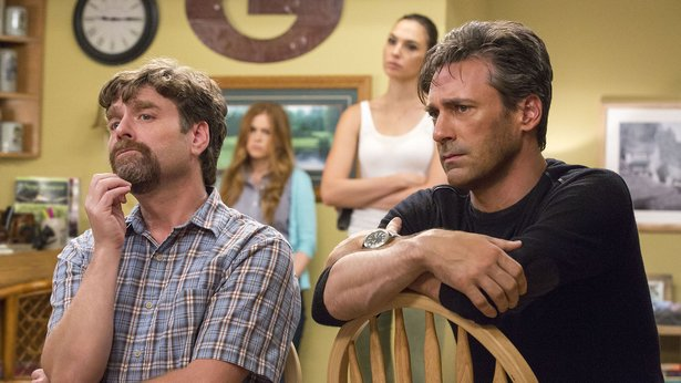 "Zach Galifianakis, Isla Fisher, Gal Gadot and Jon Hamm star in ""Keeping Up with the Joneses."""