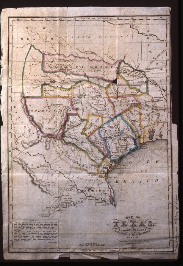 """A 1836 map of Texas in the new PPHM exhibit """"You Are Here"""""""