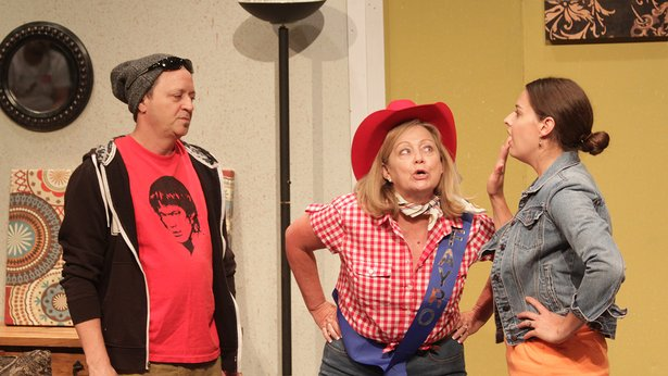 "Honey Raye (Cindi Bulla, center) needs help from Frankie (Jackie Sorenson Llewellyn) and Dub (Monty Downs) in ""Southern Hospitality."""