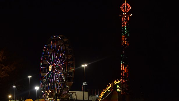 Rides light up the night at the Amarillo Tri-State Fair.