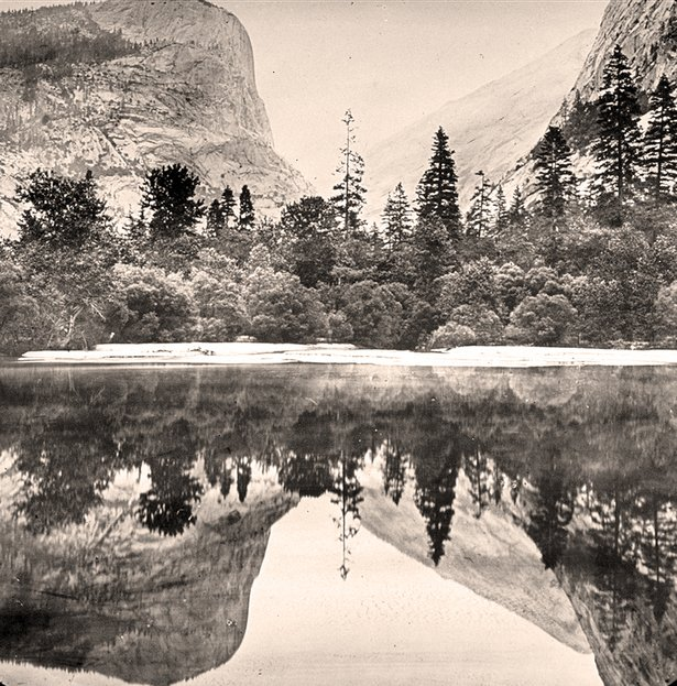 Reflections in Mirror Lake, Yosemite Valley, California.