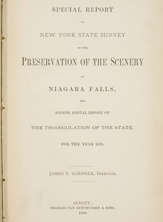 New York State Survey on the Preservation of Scenery of Niagara Falls.