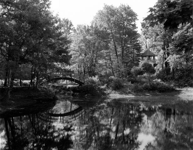 Bridge in wild garden on the grounds of Stan Hywett Hall.