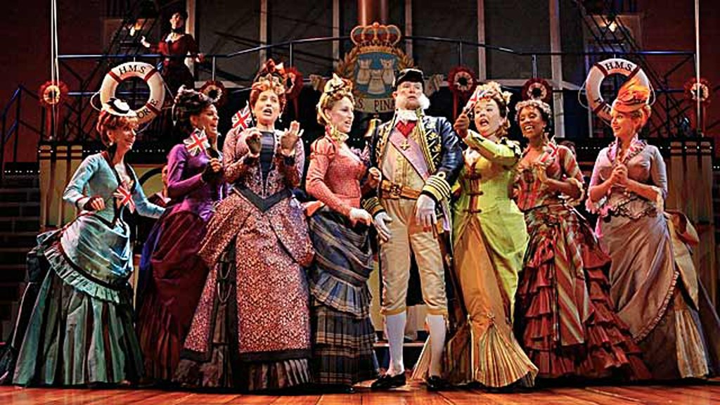 Sir Joseph Porter and the Sisters, Cousins and Aunts of the Guthrie Theater's production of Gilbert and Sullivan's H.M.S. Pinafore.