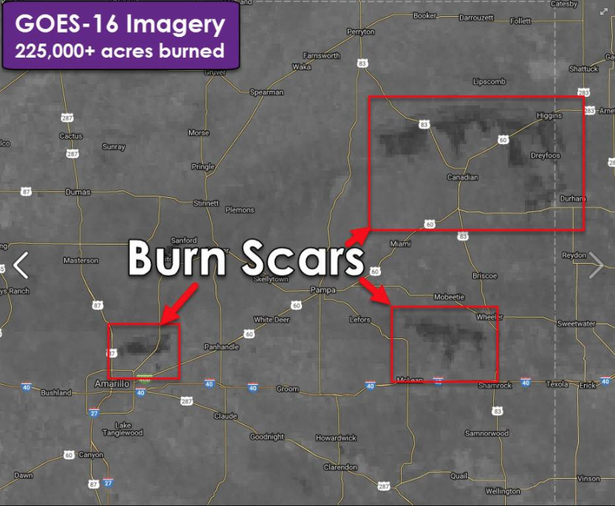 National Oceanic & Atmospheric Admin. satellite imagery shows Texas Panhandle wildfire burn scars.