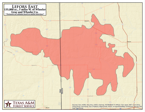 The Texas A&M University Forest Service has released this map of the Lefors East Fire, which ignited acreage in Gray and Wheeler counties.