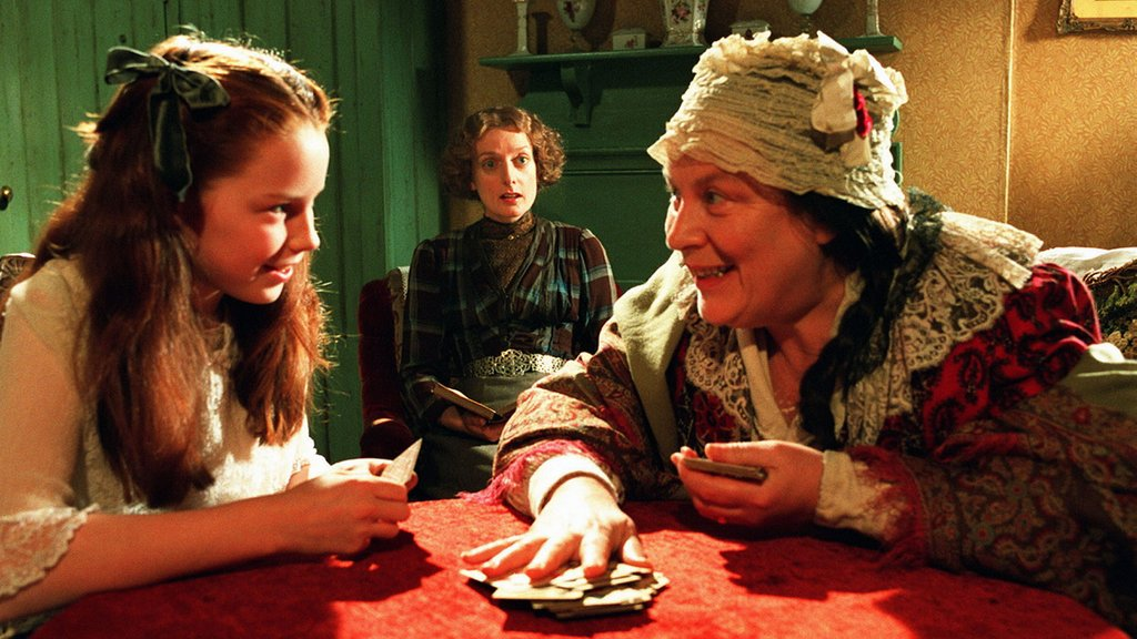 From left: Georgina Terry as Pollyanna, Judy Flynn as Milly, and Pam Ferris as Mrs. Snow. Photo credit: © ITV plc (ITV Studios Global Entertainment)