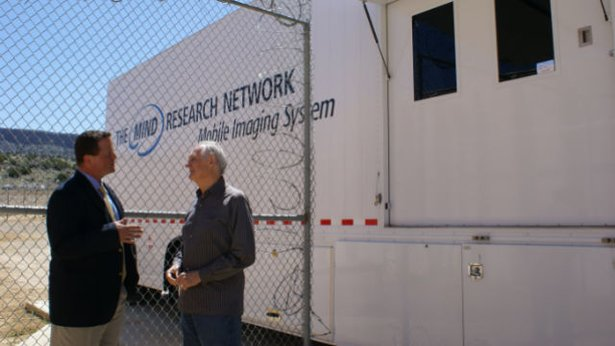 Alda goes with Dr. Kent Kiehl to the New Mexico Corrections Facility to test a psychopath in Kiehl's mobile fMRI unit.