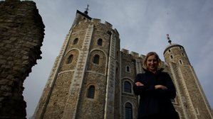 Dr. Tracy Borman in front of the Tower of London.