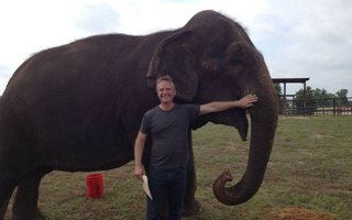 Producer and director Stephen Brown on location with Rosie, a retired circus elephant.