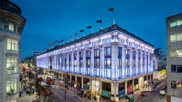The east corner of Selfridges in London.