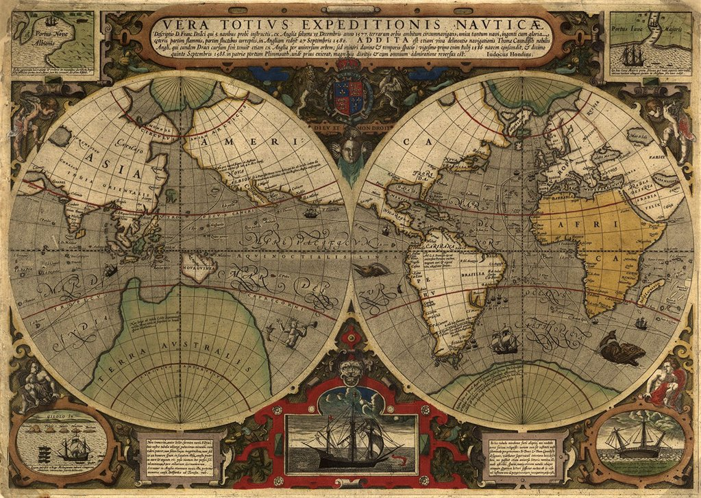 Vera totius expeditionis nauticæ map, 1595
