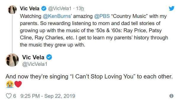 Vic Vela Country Music Tweet