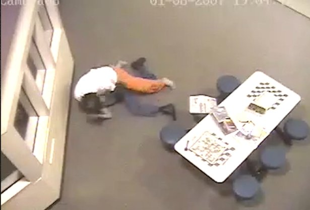 Still of video of jail attack