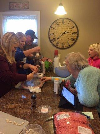 The Kennedy family gathers to make potato sausage.