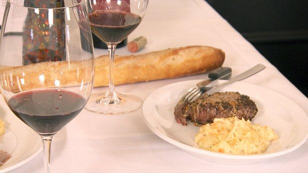 Bison Filet au Poivre and Root Vegetable Mash.