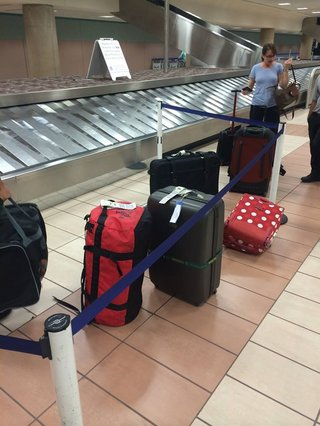 Bad day: When you end up with only 6 of your 400 bags at the baggage claim.
