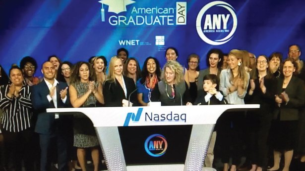 The NASDAQ closing bell is rung