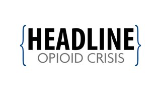 HEADLINE | Opioid Crisis logo is contained within two blue braces. The word Headline is in bold black letters on the top. The words Opioid Crisis are in thin gray font on the bottom.
