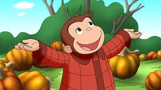 PBS Kids Curious George Halloween Boo Fest promotional image with George standing in a field of pumpkins with his arms out-stretched