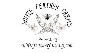 A JPEG image of the White Feather Farms logo.