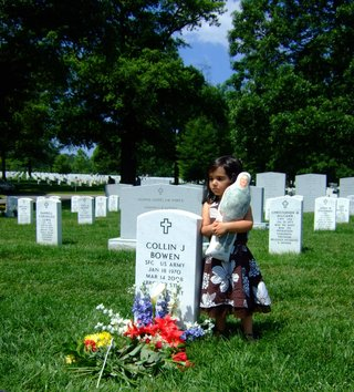 Gabriela Bowen visiting her father's grave as a child on Father's Day.