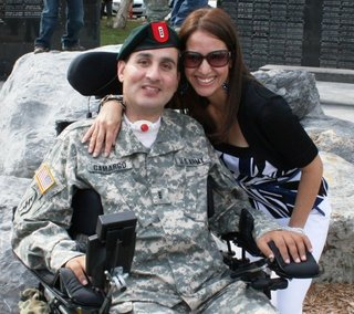 Paralyzed soldier Romy Camargo and his wife, Gaby