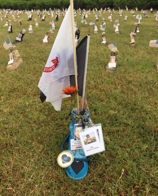 Shawn Dostie's Boot at the Fort Campbell display.